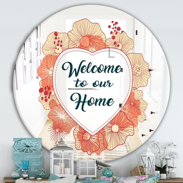 Designart 'Welcome To Our Home. Pink Flower Heart' Cabin and Lodge Entrance Mirror - Round Wall Mirror for Entrance - Multi
