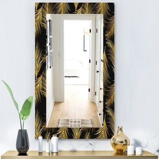 Designart 'Feathers 23' Modern Mirror - Frameless Contemporary Vanity Mirror - Gold