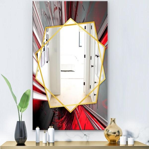 Designart 'Fractal Deep Into Middle' Modern Mirror - Frameless Contemporary Wall Mirror - Red