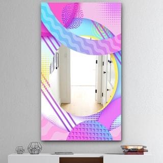 Designart 'Spacy Dimensions 10' Mid-Century Mirror - Modern Florida Mirror - Pink