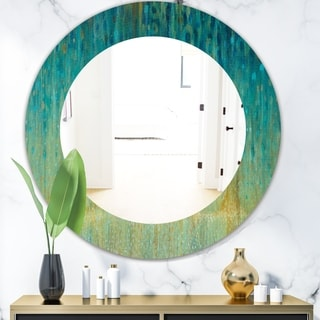 Porch & Den 'Rain Abstract Panel' Modern Bathroom Mirror - Blue