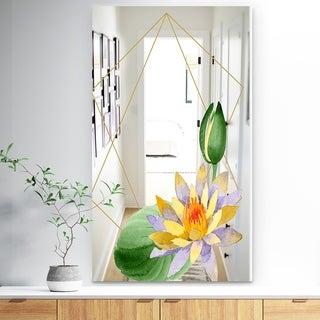 Designart 'Efflorescent Gold Simple 9' Traditional Mirror - Vanity Mirror