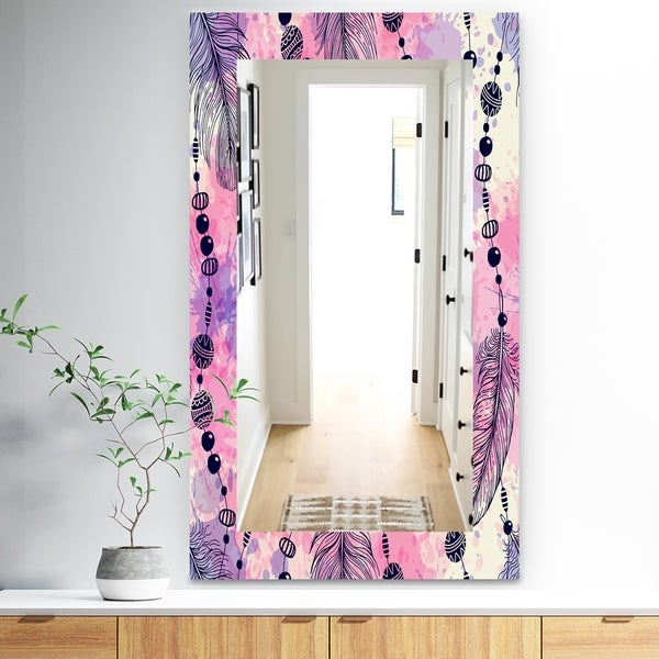 Designart 'Feathers 30' Bohemian and Eclectic Mirror - Frameless Eclectic Bathroom Mirror - Pink