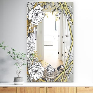 Designart 'Gold Botanical Blooming 4' Traditional Mirror - Vanity Mirror - White