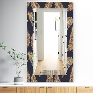 Design Artdesignart Feathers 17 Bohemian And Eclectic Mirror Frameless Modern Wall Mirror 29 5 In Wide X 47 4 In High Dailymail