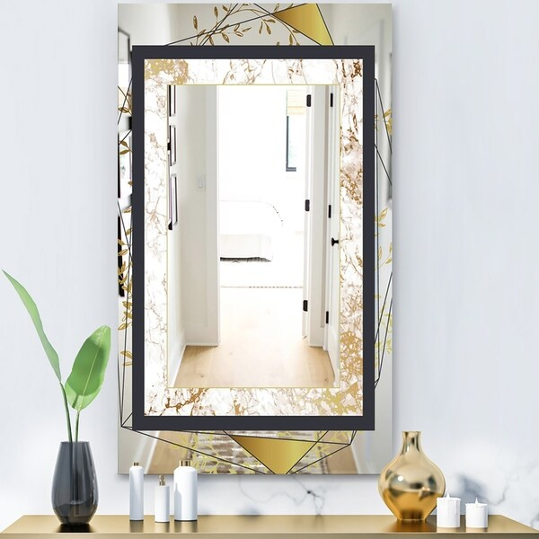 Designart 'Gold Botanical Blooming 5' Glam Mirror - Modern Vanity Mirror - Black
