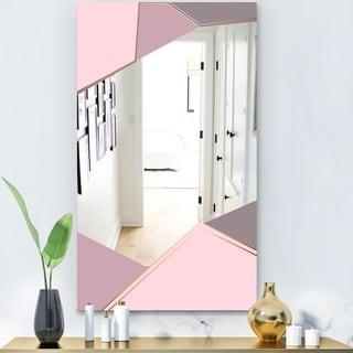Designart 'Gray Lavendar Triangles' Glam Mirror - Modern Vanity Mirror - Pink