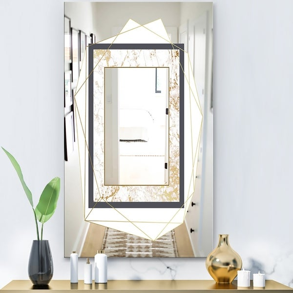 Designart 'Capital Gold Essential 13' Glam Mirror - Accent or Vanity Mirror - White