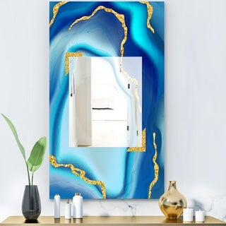 Porch & Den Danube Blue Marbled Frameless Glam Mirror