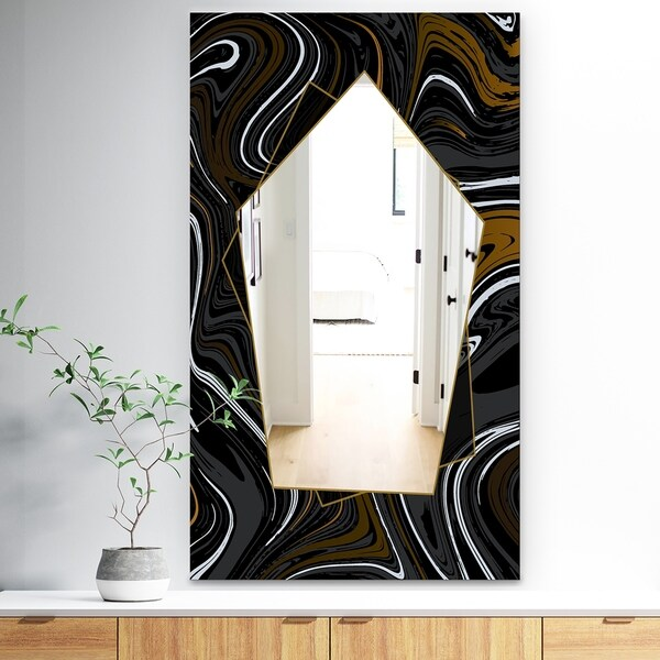 Designart 'Marbled Diamond 8' Traditional Mirror - Large Wall Mirror - Black