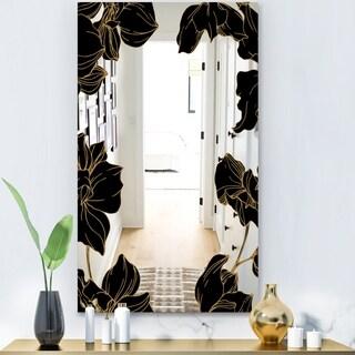 Designart 'Gold Botanical Obsidian 8' Glam Mirror - Modern Floral Vanity Mirror - Black