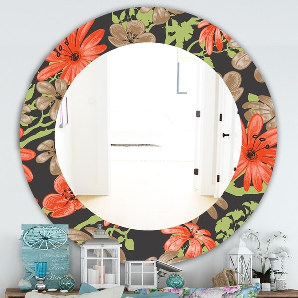 Designart 'Red and Brown Flowers With Of Green Branches' Traditional Mirror - Frameless Oval or Round Wall Mirror - Red