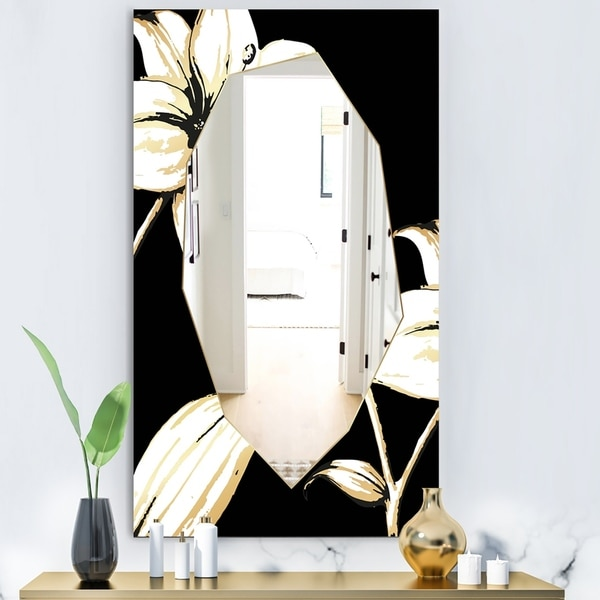 Designart 'Hand Sketched Orchid and Lily' Glam Mirror - Decorative Modern Mirror - Multi