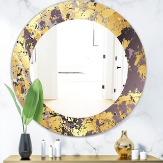 Designart 'Marbled Marvelous 1' Modern Vanity Mirror - Frameless Contemporary Oval or Round Wall Mirror - Gold