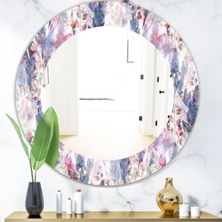 Designart 'Feathers 2' Bohemian and Eclectic Mirror - Frameless Oval or Round Vanity Mirror