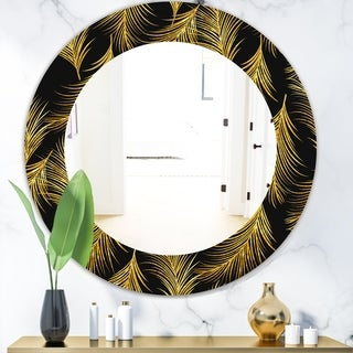 Designart 'Feathers 23' Modern Bathroom Mirror - Frameless Contemporary Oval or Round Wall Mirror - Gold