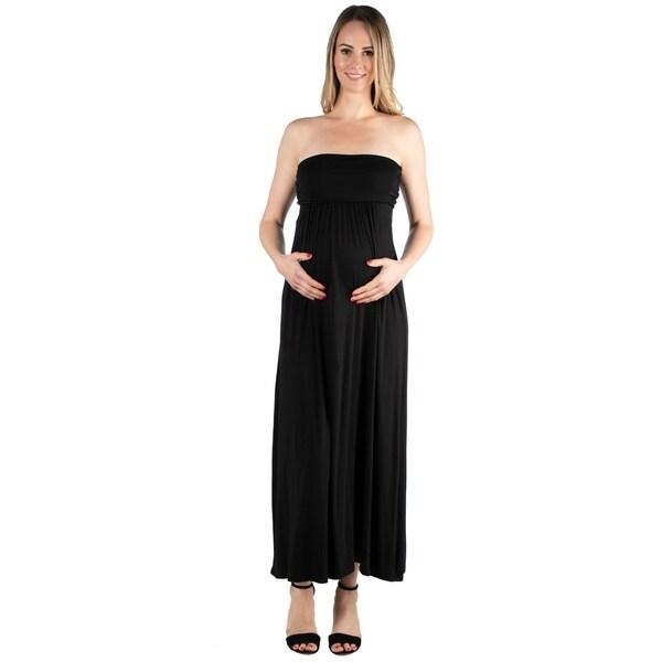ad9e14ca0de Shop 24seven Comfort Apparel Maternity Strapless Maxi Dress - Free ...
