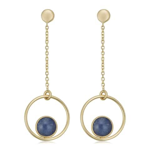 14k Yellow Gold Blue Aventurine Drop Earrings