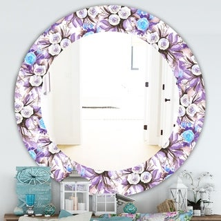 Designart 'Purple Bloom 4' Traditional Mirror - Frameless Oval or Round Wall Mirror - White