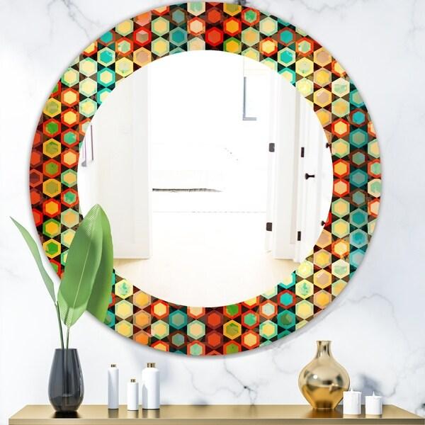 Designart 'Honeycomb 2' Modern Mirror - Frameless Oval or Round Wall Mirror - Red