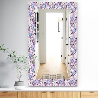 Designart 'Purple Bloom 5' Traditional Mirror - Frameless Vanity Mirror - Purple