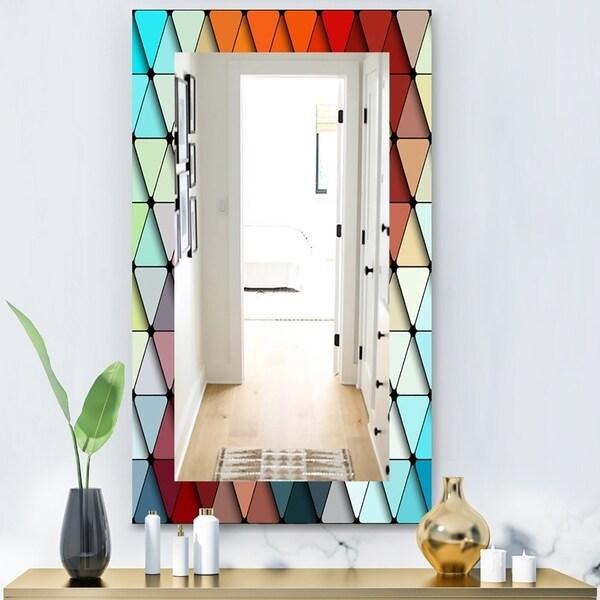 Porch & Den 'Triangular Colourfields 23' Modern Mirror - Red