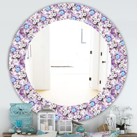 Designart 'Purple Bloom 5' Traditional Mirror - Frameless Oval or Round Wall Mirror - Purple