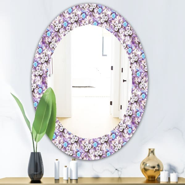 Designart Purple Bloom 5 Traditional Mirror Frameless Oval Or Round Wall Mirror Purple Overstock 28003999 20 In Wide X 30 In High