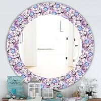 Designart 'Purple Bloom 5' Traditional Mirror - Frameless Oval or Round Wall Mirror - Purple