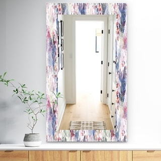 Designart 'Feathers 2' Bohemian and Eclectic Mirror - Frameless Modern Wall Mirror - Purple