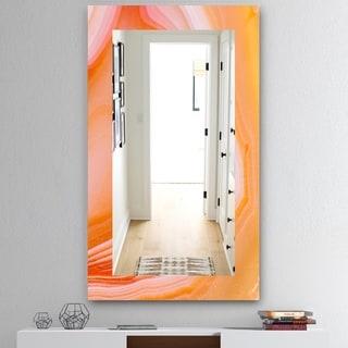 Designart 'Marbled Geode 10' Mid-Century Modern Mirror - Frameless Bathroom Mirror - Orange
