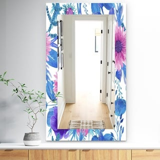 Designart 'Purple Bloom 6' Traditional Mirror - Frameless Wall Mirror - Purple