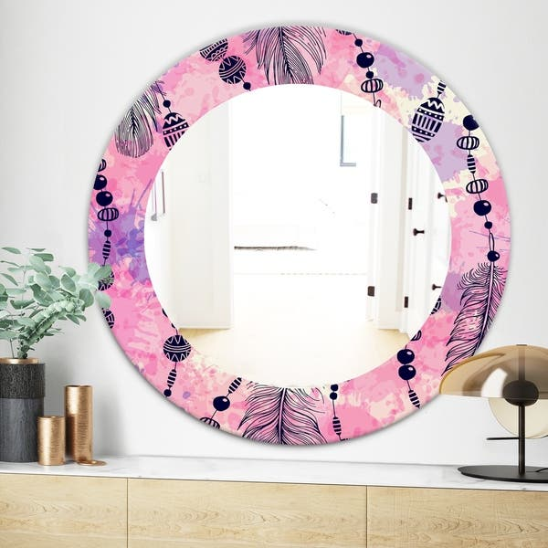 Designart Feathers 30 Bohemian And Eclectic Mirror Frameless Oval Or Round Wall Mirror Pink On Sale Overstock 28004003