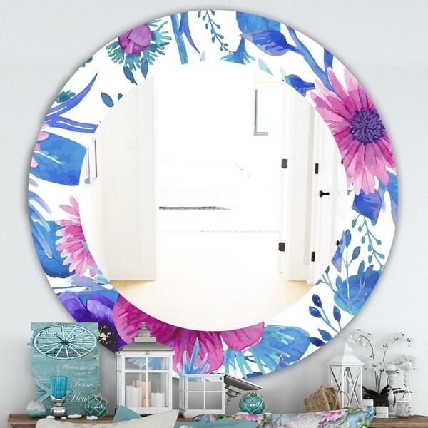 Designart 'Purple Bloom 6' Traditional Bathroom Mirror - Frameless Oval or Round Wall Mirror - Purple