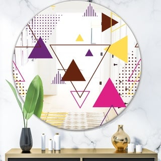 Designart 'Triangular Spacy Spheres 2' Mid-Century Mirror - Oval or Round Wall Mirror - Blue