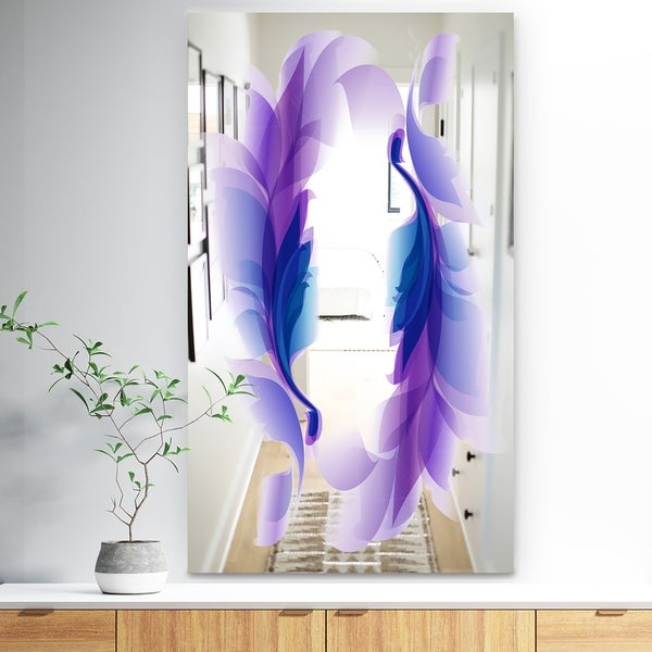 Designart 'Purple Feathers' Bohemian and Eclectic Mirror - Wall Mirror - Purple