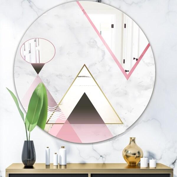 Designart 'Triangular Spacy Spheres 4' Mid-Century Mirror - Oval or Round Decorative Mirror - Pink
