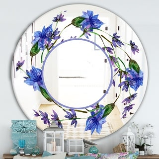 Designart 'Purple Lavender Flowers' Traditional Mirror - Oval or Round Decorative Mirror - Blue