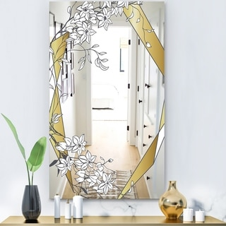 Designart 'Gold Botanical Blooming 2' Glam Mirror - Wall Mirror - Gold