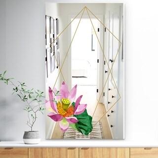 Designart 'Efflorescent Gold Simple 11' Traditional Mirror - Vanity Mirror - Pink