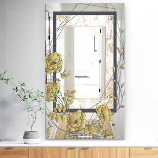 Designart 'Gold Botanical Blooming 3' Traditional Mirror - Vanity Mirror - Gold