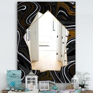 Designart 'Marbled Diamond 9' Farmhouse Mirror - Large Wall Mirror - Black