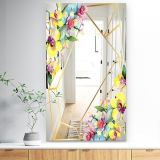 Designart 'Efflorescent Gold Simple 13' Traditional Mirror - Wall Mirror