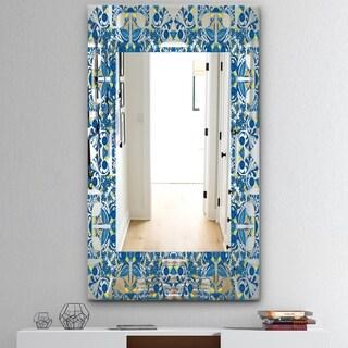 Designart 'Portuguese Tiles' Mid-Century Mirror - Frameless Wall Mirror - Blue