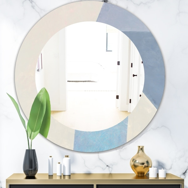 Designart 'Purple Geometric Bridge I' Mid Century Round Mirror - Frameless Oval or Round Wall Mirror - Purple