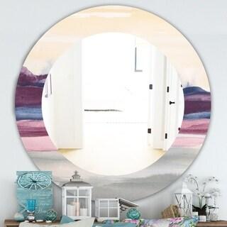 Designart 'Purple Rock Landscape' Farmhouse Mirror - Frameless Oval or Round Wall Mirror