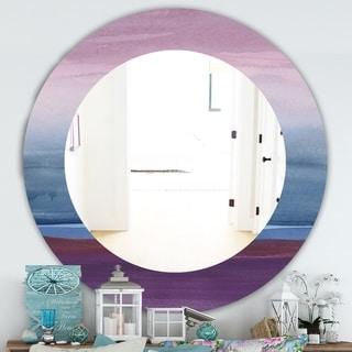Designart 'Purple Rock Landscape III' Farmhouse Mirror - Frameless Oval or Round Wall Mirror