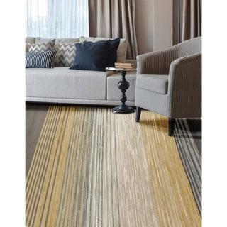 Castille Heathered Modern Stripe Light Yellow Area Rug