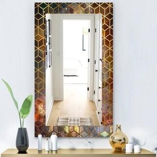 Designart 'Capital Gold Honeycomb 9' Modern Mirror - Frameless Wall Mirror