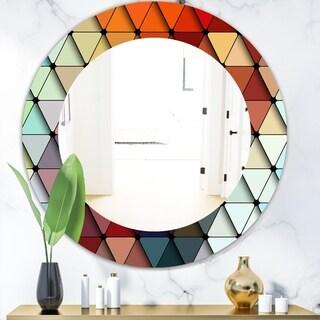 Designart 'Triangular Colourfields 23' Modern Mirror - Frameless Contemporary Oval or Round Bathroom Mirror - Red